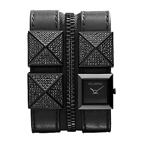 Karl Lagerfeld Zip ladies' stone set ion-plated strap watch - Product number 1232487