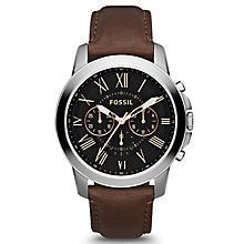 Fossil Men's Stainless Steel Brown Leather Strap Watch - Product number 1233521