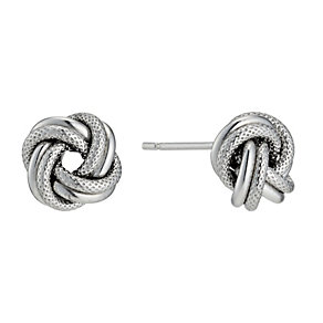 Silver Rhodium-Plated Knot Stud Earrings - Product number 1234099