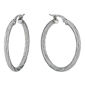 Silver Rhodium-Plated Textured Creole Hoop Earrings - Product number 1234102