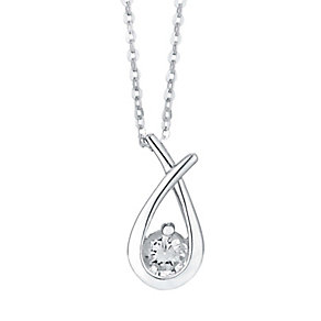 Silver Rhodium-Plated Cubic Zirconia Mini Love Knot Pendant - Product number 1234110