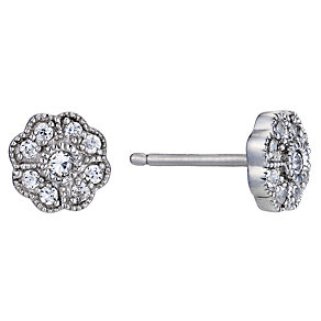 Silver Rhodium-Plated  Cubic Zirconia Flower Stud Earrings - Product number 1234129
