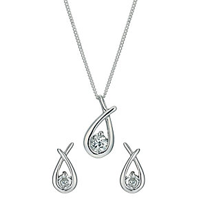 Silver Rhodium-Plated Cubic Zirconia Earrings & Pendant set. - Product number 1234145