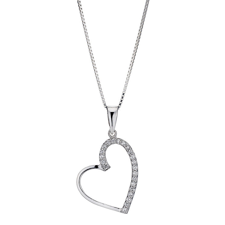 Silver Rhodium-Plated Cubic Zirconia Heart Pendant - Product number 1234161