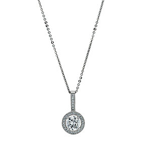 Silver Rhodium-Plated Cubic Zirconia Halo Pendant - Product number 1234218