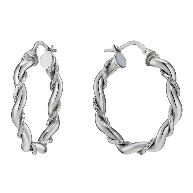 Silver Rhodium-Plated Twisted Texture Creole Hoop Earrings - Product number 1234242