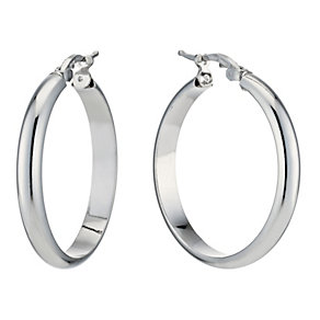 Silver Rhodium-Plated Round Creole Hoop Earrings - Product number 1234250