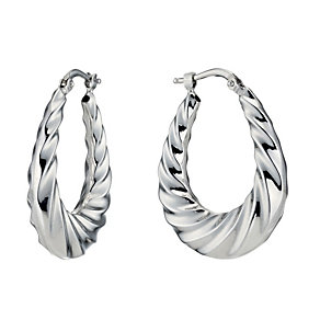 Silver Rhodium-Plated Twist Creole Hoop Earrings - Product number 1234269