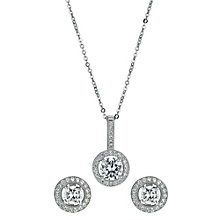 Silver Rhodium-Plated Cubic Zirconia Earrings & Pendant Set - Product number 1234307