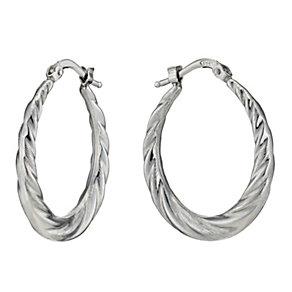 Silver Oval Twist Creole Hoop Earrings - Product number 1234323