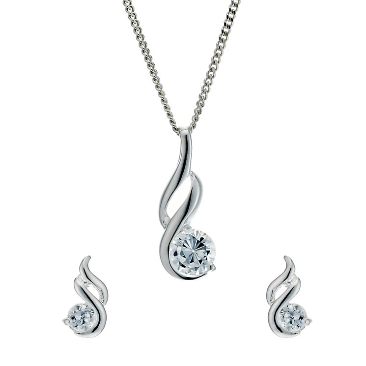 Silver Rhodium-Plated Cubic Zirconia Earrings & Pendant Set - Product number 1234358