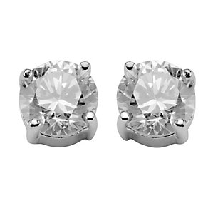 Silver Rhodium-Plated 5mm Cubic Zirconia Stud Earrings - Product number 1234471