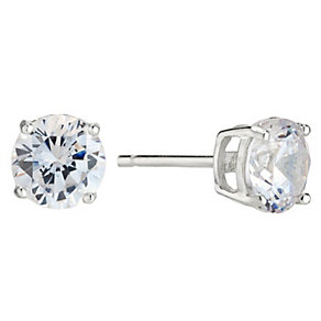 Silver Rhodium-Plated 7mm Cubic Zirconia Stud Earrings - Product number 1234498
