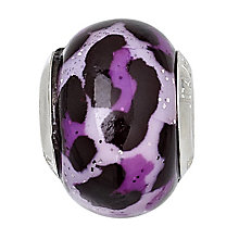 Charmed Memories Black and Purple Leopard Print Glass Bead - Product number 1237160