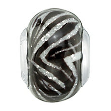 Charmed Memories Black and White Zigzag Murano Glass Bead - Product number 1237179