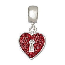 Charmed Memories Silver Red Crystal Heart with Lock Charm - Product number 1237594