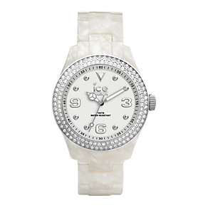 Ice-Watch Ladies' Stone Set Pearlised Strap Watch - Product number 1238442