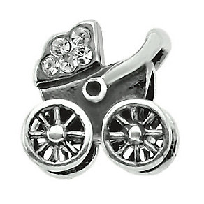 Charmed Memories Sterling Silver Crystal Baby Carriage Bead - Product number 1239368