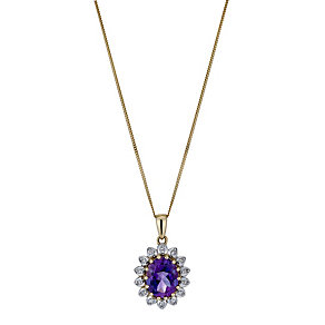9ct Yellow Gold Amethyst & Diamond Pendant - Product number 1244353