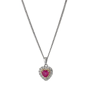 Silver & 9ct Yellow Gold Treated Ruby Diamond Heart