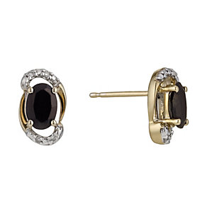 9ct Yellow Gold Sapphire & Diamond Oval Stud Earrings - Product number 1244469