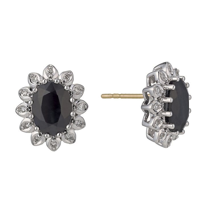 9ct Yellow & White Gold Sapphire & Diamond Stud Earrings - Product number 1244477