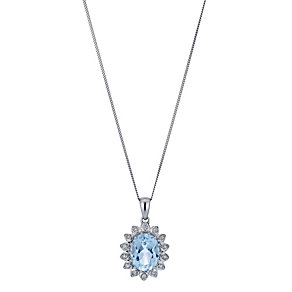 9ct White Gold Blue Topaz & Diamond Pendant - Product number 1244507