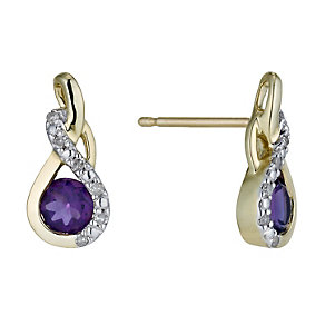 9ct Yellow Gold Amethyst & Diamond Twist Stud Earrings - Product number 1244566