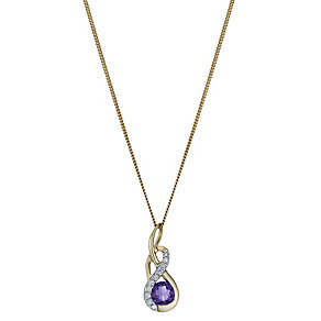 9ct Yellow Gold Amethyst & Diamond Twist Pendant - Product number 1244574