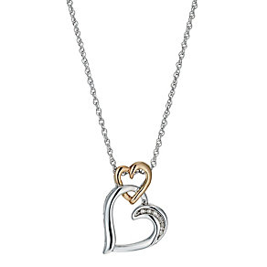 9ct Rose Gold & Silver, Diamond Double Heart Pendant - Product number 1244698