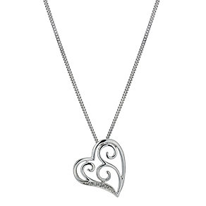 Silver & Diamond Heart Pendant - Product number 1244701