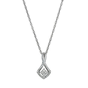 Sterling Silver & Diamond Drop Pendant - Product number 1244736