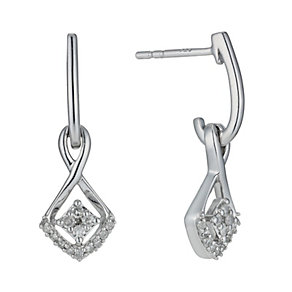 Silver 1/6 Carat Diamond Drop Earrings - Product number 1244744