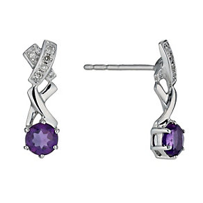 Kiss Silver & Amethyst Earrings - Product number 1244876