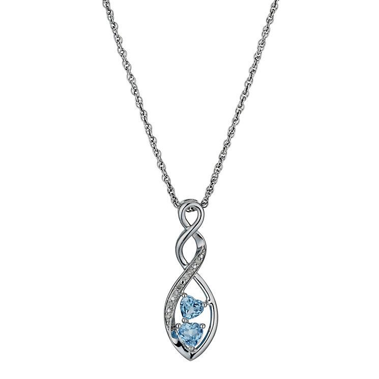 Argentium Silver, Diamond & Blue Topaz Heart Pendant - Product number 1244892