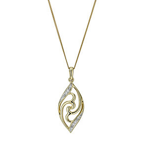 9ct Gold Diamond Filigree Pendant - Product number 1244949
