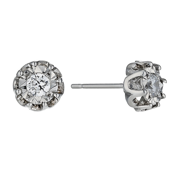 Illusion Set Diamond Solitaire Flower Stud Earrings - Product number 1244965
