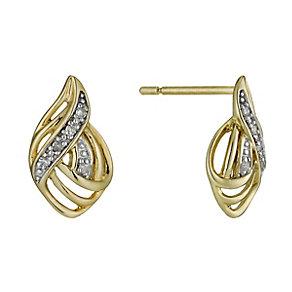 9ct Gold Diamond Filigree Stud Earrings - Product number 1244973