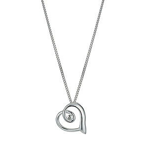 Silver Diamond Heart Pendant - Product number 1244981