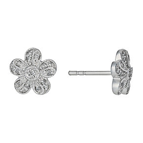 Sterling Silver Flower Cluster Earrings - Product number 1245031