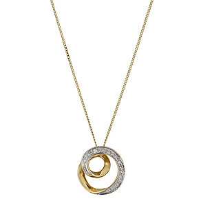 9ct Yellow Gold Diamond Spiral Pendant - Product number 1245058