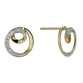 Yellow Gold Diamond Spiral Stud Earrings - Product number 1245066