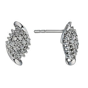 9ct White Gold 1/3 Carat Diamond Cluster Stud Earrings - Product number 1245074