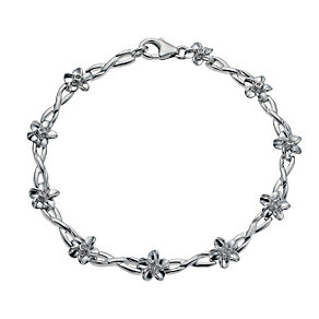 Forget Me Not Silver Diamond Flower Bracelet - Product number 1245139