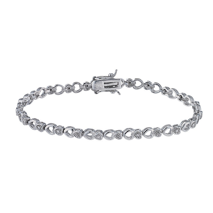 Silver & Diamond Heart Bracelet - Product number 1245147