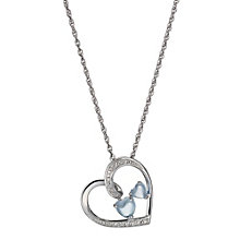Candy Hearts Argentium Silver Diamond & Blue Topaz Pendant - Product number 1245155