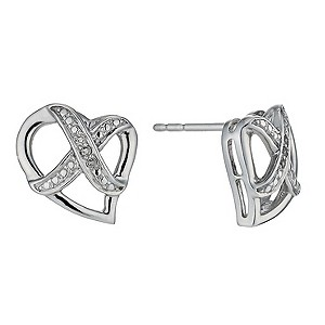 Kiss Silver Diamond Heart Earrings