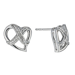 Kiss Silver Diamond Heart Earrings - Product number 1245163