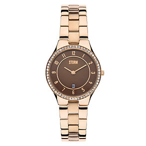 Storm Ladies' Brown Dial Rose Gold-Plated Bracelet Watch - Product number 1245287