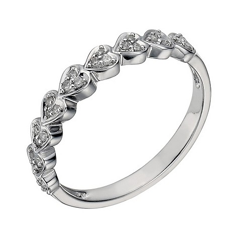 9ct white gold 10 point diamond heart ring